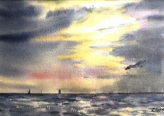 """Lucia Sokol, """"Sunset, Napatree Point"""", watercolor, $425"""