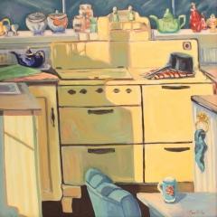"Mona Stratos, ""Sunny Kitchen"", oil, $2,500"
