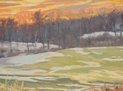 """Mona Stratos, """"Yellow Glow"""", oil, $950"""