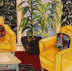 "Claudia Van Nes, ""2 Yellow Chairs"", watercolor, $450"