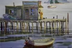 "Ralph Acosta, ""New England Coast"", watercolor, $425"