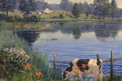 "Thomas Adkins, ""Grazing among the Lilies"", 36x36,oil, $7,400"