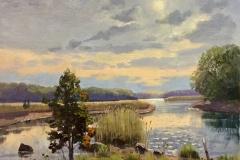 "Thomas Adkins, ""Madison River Cedar"", oil, 12x12, $1,800"