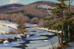 "Thomas Adkins, ""Ottauquechee River, West Woodstock, VT, oil,12x12, $1,900"
