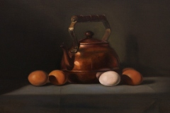 "Patt Baldino, ""Copper Teapot"", oil, $2,900"