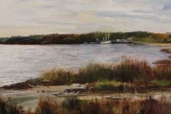 """John Caggiano, """"Cherry Point Shrimpers"""", oil, $2,500"""
