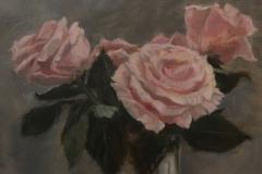 """Judith Chapman, """"June Roses"""", oil, $600"""
