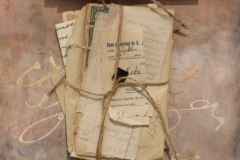 """Carol Dunn, """"Love Letters and Ledgers"""", mixed media, $325"""