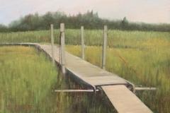 "Donna Gilberto, ""Dock through the Marsh"", oil, $1,200"
