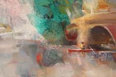 "Sunil Howlader, ""Kayak-1"", acrylic, $2,400"