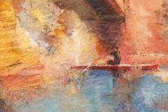 "Sunil Howlader, ""Kayak-2"", acrylic, $1,500"