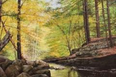 "Stephen Linde, ""Woodland Stream"", oil, $1,800"