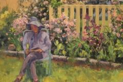 "Barbara Lussier, ""Reading in the Garden"", oil, $2,400"