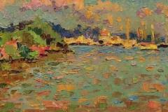"Leif Nilsson, ""Thatchbed Island, Essex"", oil, $3,900"