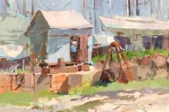 "Robert Noreika, ""Blue Shack"", acrylic, $2,200"