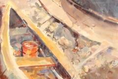 "Robert Noreika, ""Orange Pail"", acrylic, $2,200"