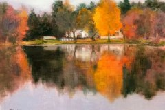 "Elizabeth Rhoades, ""Autumn Looking Glass"", oil, $900"