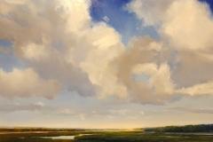 """Janine Robertson, """"Lofty Blue"""", oil on aluminum, $3,900"""
