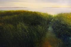 "Janine Robertson, ""Morning Haze"", oil on aluminum, $2,900"