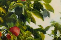 """Janine Robertson, """"Pommes Rouge"""", oil on aluminum, $1,400"""
