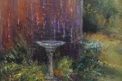 """Nancy Schroeder, """"Birdbath"""", oil, $375"""