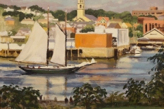 "Caleb Stone, ""Sailing In, Gloucester Harbor"", oil, $2,800"