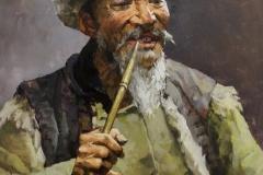 "Christopher Zhang, ""Pipe Smoker"", oil, $5,600"