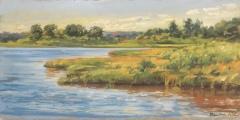"""Sharon  Bahosh, """"Salt Water Marsh"""", oil, 12x24, $1,200"""