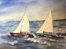 """Lucia Sokol, """"Racing for NESS Fundraiser"""", watercolor, 9x12, $375"""