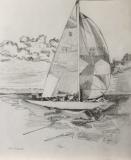 "Teri Banas, ""Shields Fleet 19; Pearl off Mason's Island"", graphite, 15x13, $500"