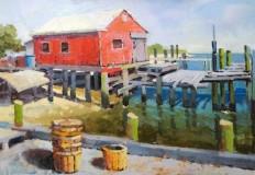 """Richard Bazelow, """"Along Delaware Bay"""", oil, 12x16, $525"""