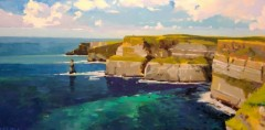 "Richard Bazelow, ""Morning Light Cliffs of Moher, Ireland"", oil, 12x24, $675-"