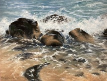 "Phyllis Bevington, ""Rocky Shoreline"", oil, 8x10, $300"