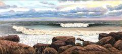 "Steve Brunetti, ""Sunrise Surf"", pastel, 7.5x17.5, $900"