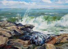 "John Caggiano, ""Incoming Breakers"", oil, 12x16, $2,200"