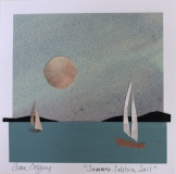 """Ann Coffey, """"Summer Solstice Sail"""", painted paper collage, 5.5x5.5, $150"""