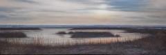 "Chandler Davis, ""Twilight at Audubon salt marsh"", acrylic, 12x36, $1,200"