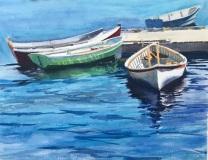 """Christine Drago, """"Green Boat"""", watercolor, 24x28, $980"""