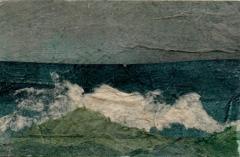 "Carol Dunn, ""Approaching Storm"", collage, 2x3, $150"