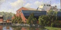 "Eileen Eder, """"Liberator"", restored"", oil, 12x24, $2,250"
