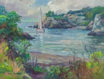 """Michael Graves, """"Incoming Sailboat"""", oil, 18x24, $3,300"""