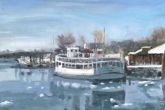 "Jean-Pierre Jacquet, ""Frozen Ferry"", oil, 16x11, $900"