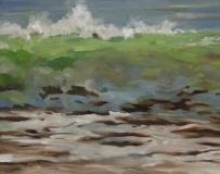 "Elaine  Juska-Joseph, ""Waves in Niantic Bay"", oil, 11x14, $600"