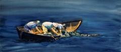 "Paul Loescher, ""Netting"", watercolor, 11x24, $800"