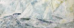 "Linda McCarthy, ""Racing Memories"", acrylic, 16x40, $400"