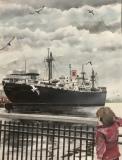 "Michael Mendel, ""Floating School"", watercolor, 13.5x9.5, $750"