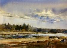 "Lisa Miceli, ""Marsh at Saltwater Farm Vineyards"", watercolor, 11x14, $550"