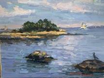 "Thomas Moukawsher, ""Ferry Returns, Thames River"", oil, 10x14, $750"