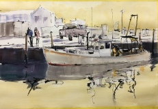 """Howard Park, """"Working Boats"""", ink and watercolor, 14x20, $750"""