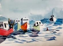 "Richard Raicik, ""Checking the Lines"", watercolor, 17x22, $295"